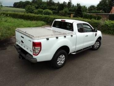 Mobile Preview: Laderaumabdeckung aus Alu-Riffelblech ohne Edelstahlreling für Ford Ranger Xtra-Cab, Modell 2019